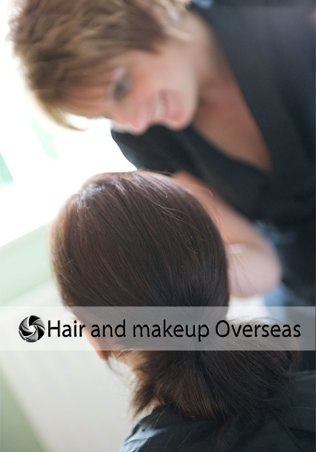 Hairstylist and make up artist getting a bride ready for her overseas wedding