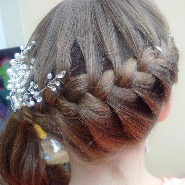 flwer grild braided hair style hairstylist tamworth tworld weddings