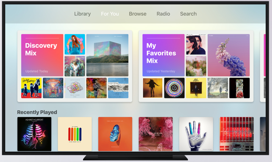 Apple Music en tvOS 10