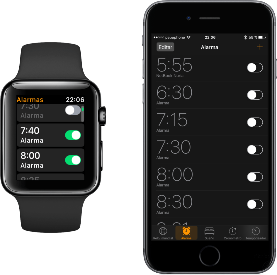 Alarmas en iPhone y Apple Watch
