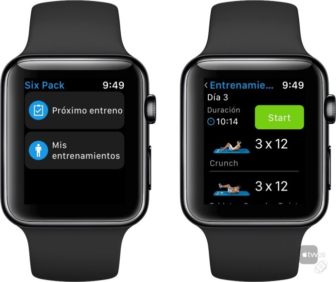 Inicio de entrenamiento en Six Pack para Apple Watch