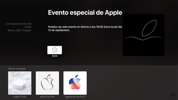 Evento del 12 en el Apple TV