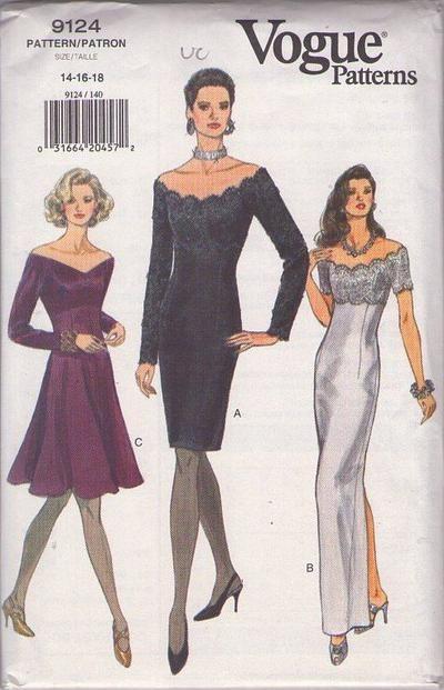 Vogue 9124 - off the shoulder straight dress
