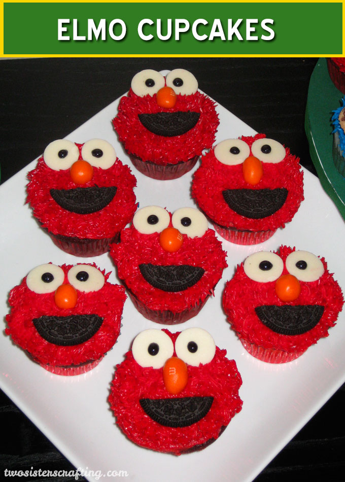 Phenomenal How To Make Elmo Cupcakes Two Sisters Funny Birthday Cards Online Bapapcheapnameinfo