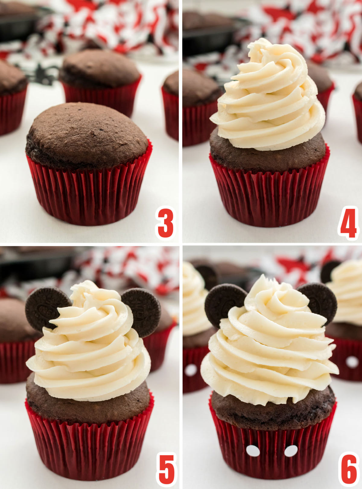 Collage image showing the steps for decorating the Mickey Mouse Cupcakes.
