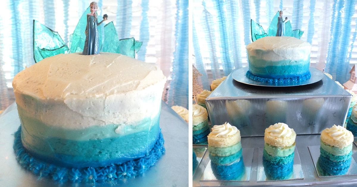 Marvelous Frozen Birthday Cake With Ombre Frosting Two Sisters Birthday Cards Printable Opercafe Filternl