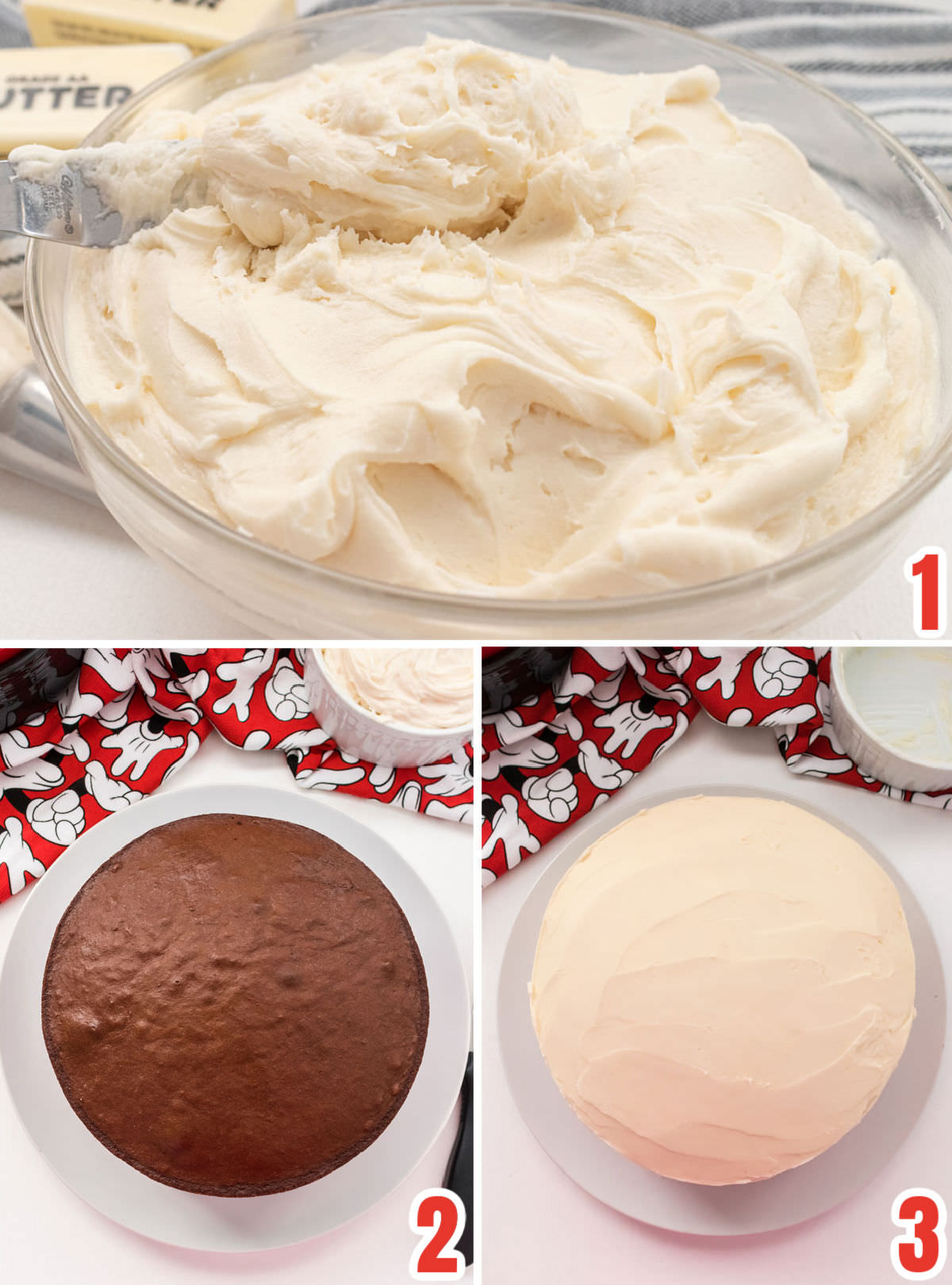 Collage image showing the steps for preparing to decorate the cake including making the frosting, making the cake and frosting the cake.