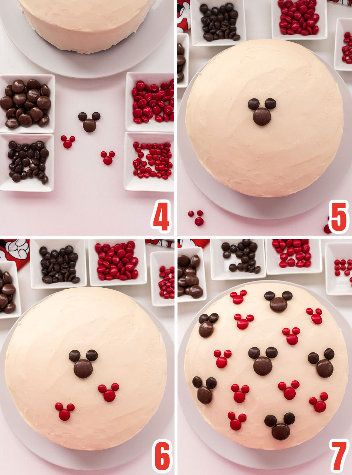 Collage image showing the steps for decorating the Easy Mickey Mouse Cake with M&M's.