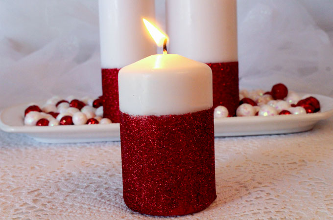 Glitter Candles - Easy DIY Christmas Decorations - Two Sisters