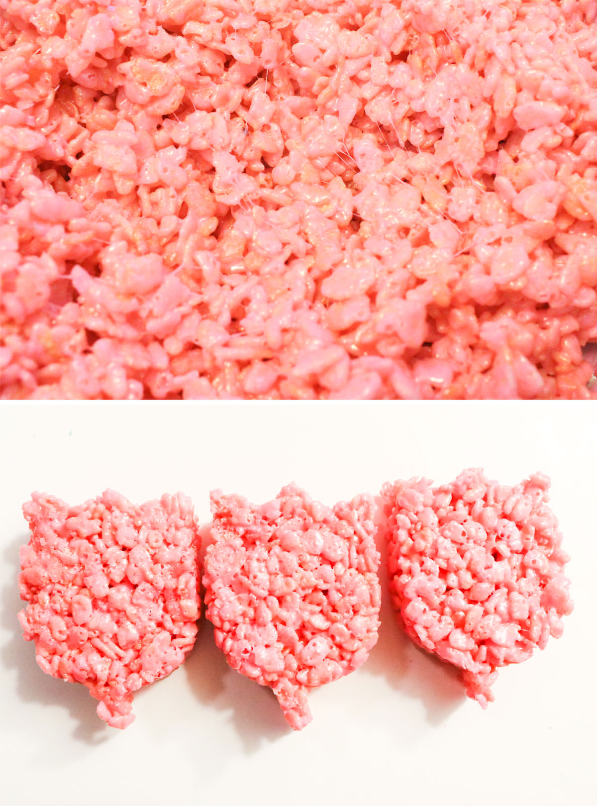 Collage image showing the steps for making pink Rice Krispie Treat tulips.