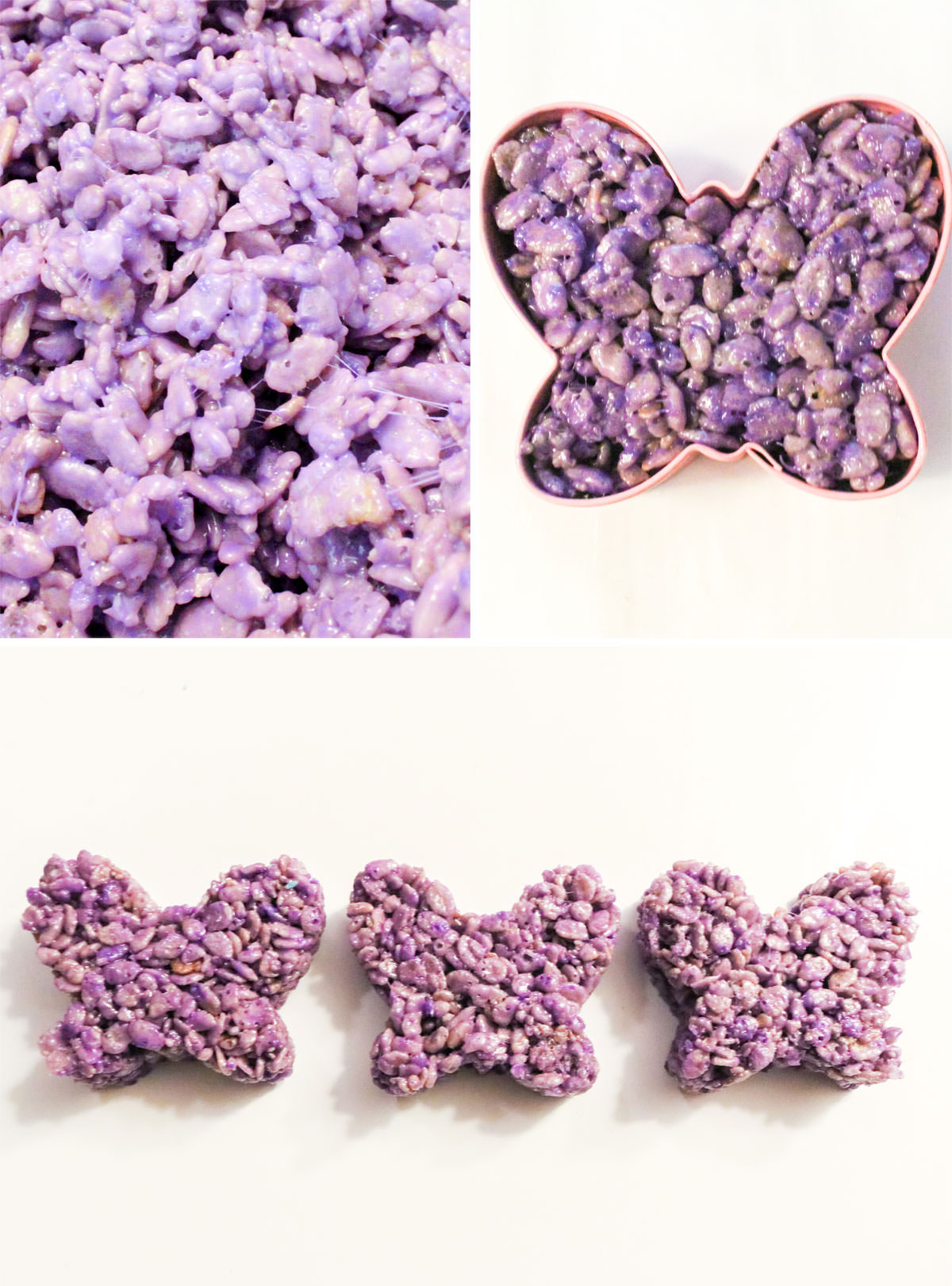 Collage image showing how to make Purple Rice Krispie Treat butterflies.