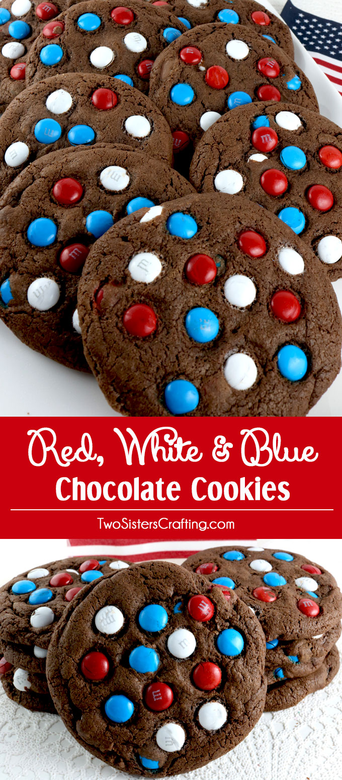 red white and blue chocolate cookies - two sisters crafting