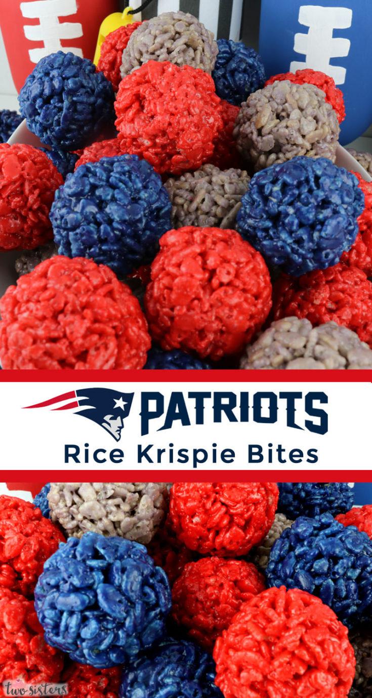 New England Patriots Rice Krispie Bites - Two Sisters