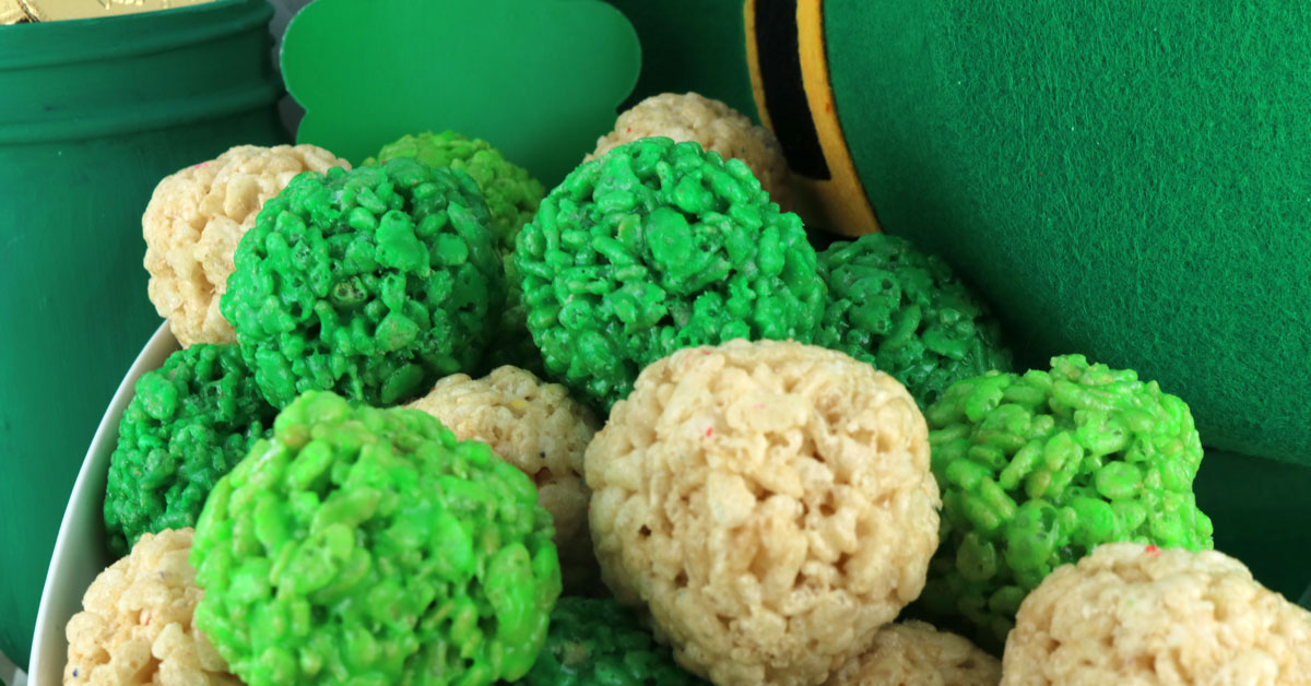 St Patricks Day Rice Krispie Bites Two Sisters
