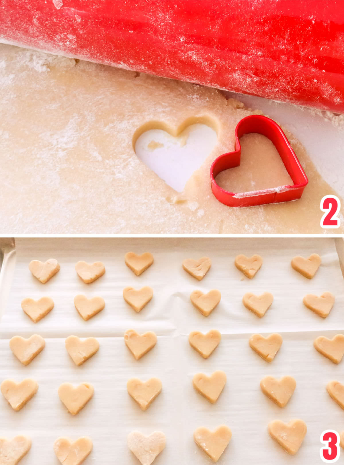 Collage image showing how to roll-out sugar cookie dough and then how to cut-out the dough in mini hearts.