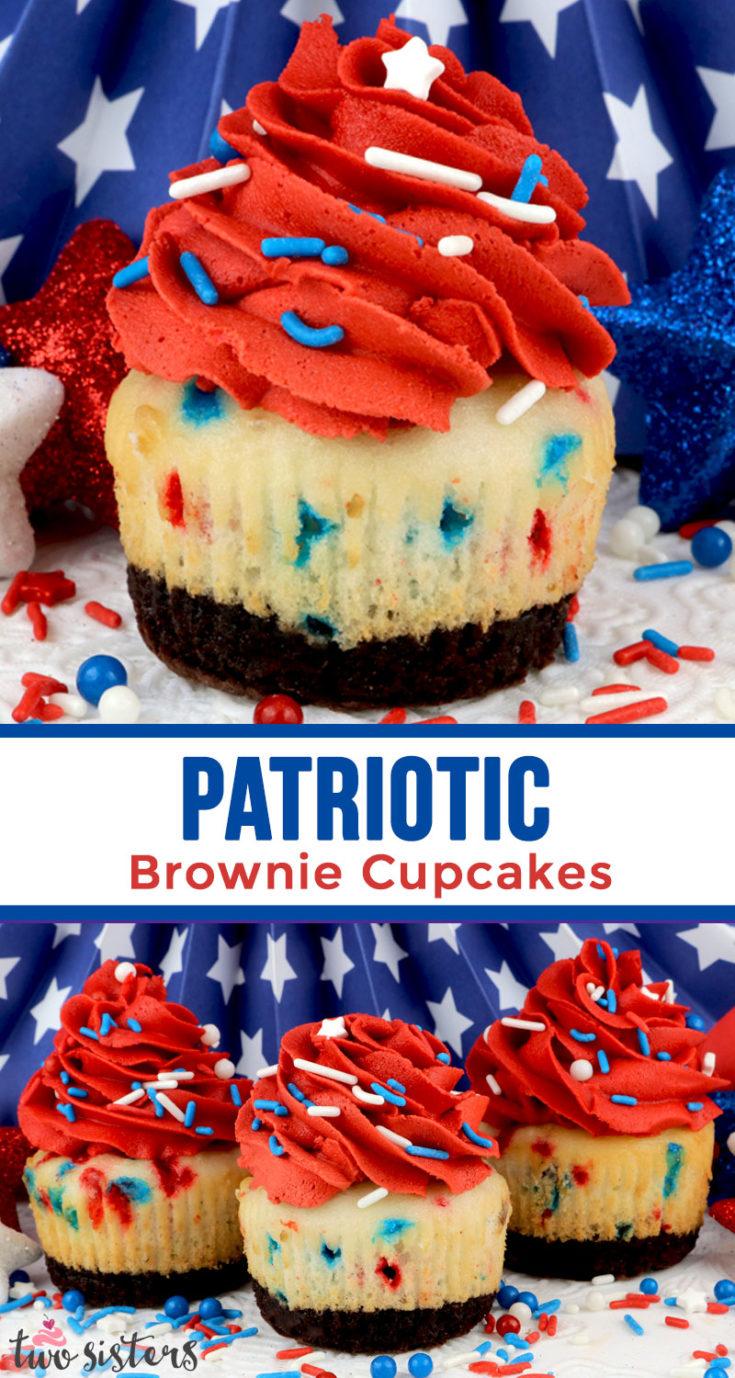 Patriotic Brownie Cupcakes Two Sisters