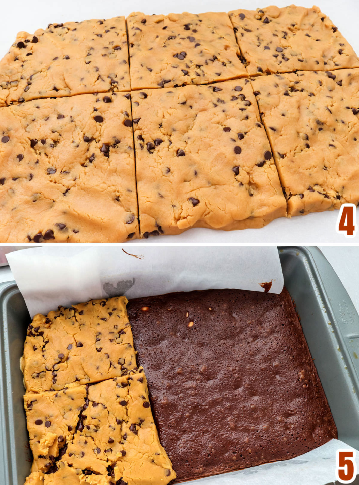 Collage image showing how to add the Peanut Butter Cookie dough to the partially cooked pan of brownies.
