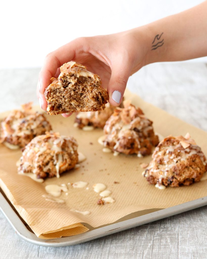 This carrot-cake scones are made with coconut, raisins, toasted pecans with honey-lemon glaze.