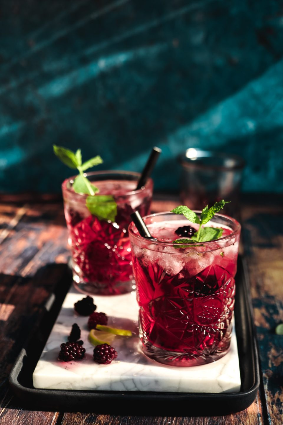 Summer Nights Blackberry-Lavender Mojito on a light marbled surface