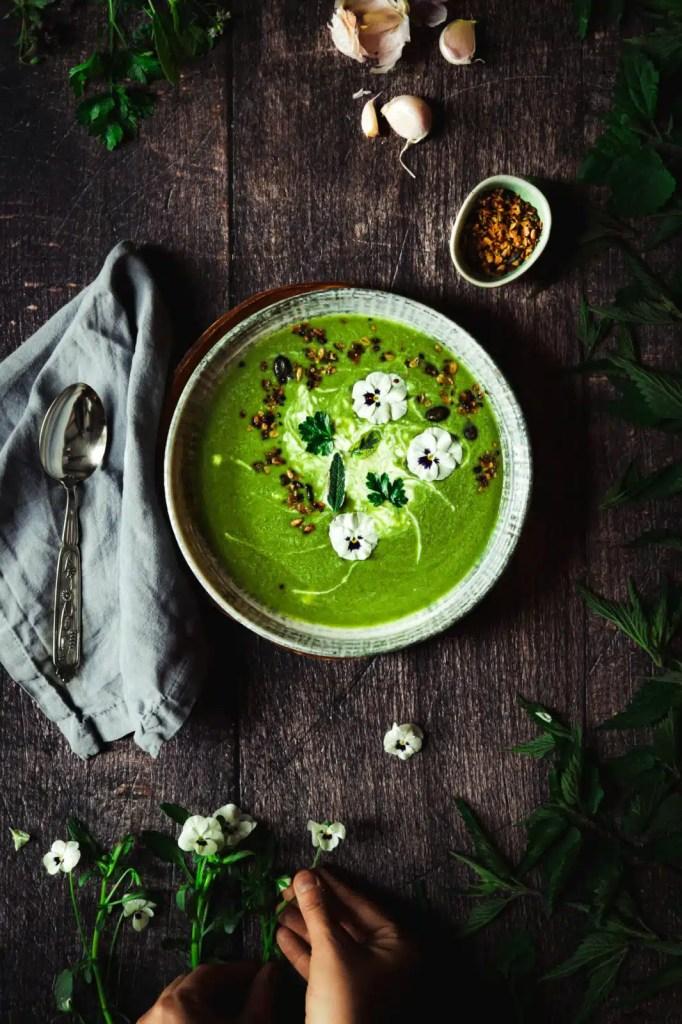 nettle soup, recipe, garlic, parsley