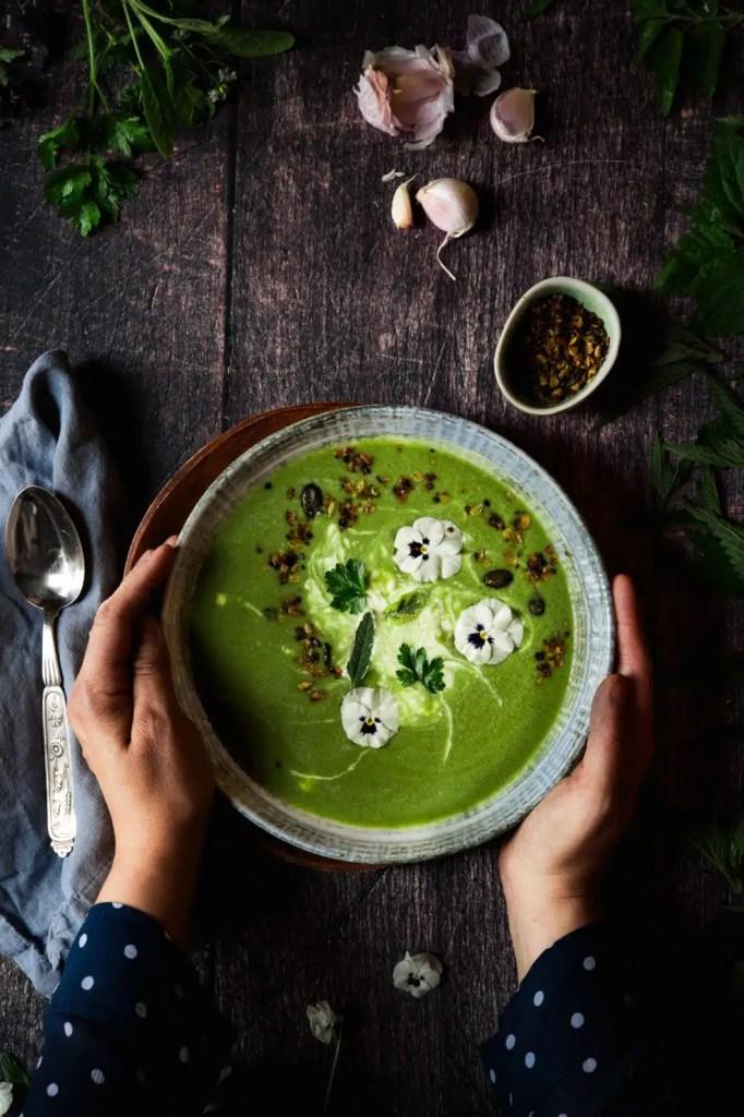 healthy food, nettle benefits, nettle soup, garlic