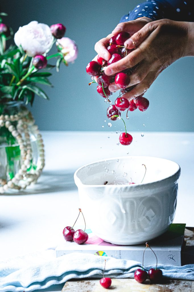 cherries, food photography and styling