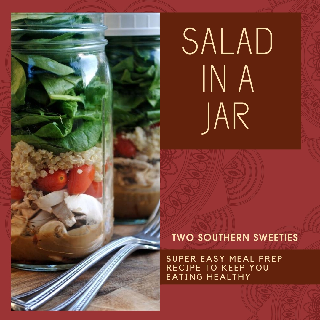 Salad In A Jar is a super easy meal prep recipe that will keep you eating healthy. | salad | meal prep | lunch | on the go | healthy eating| healthy recipes | | #mealprep #salad