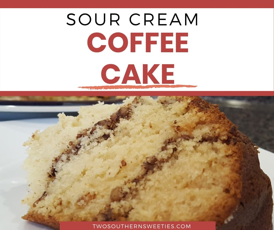 Sour Cream Coffee Cake - This is a delicious family recipe. Coffee cake recipe is great for brunch. #coffeecake #brunchrecipes