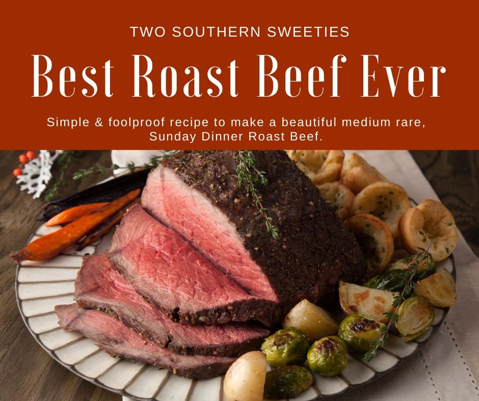 Simple & full-proof recipe to make a beautiful medium rare, Sunday Dinner Roast Beef. This is just like my Mama used to make! Medium Rare Beef, Christmas Dinner, Best Roast Beef Ever #roastbeef
