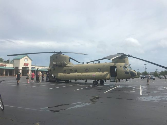 Chinook Helicopter Bringing In Supplies To Wilmington NC