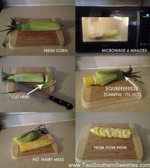 Microwave fresh corn. Easy to husk with no mess. These tips and life hacks will seriously wishing you had known them sooner. They are such simple tips that will add big value to your life. | Two Southern Sweeties | #lifehacks