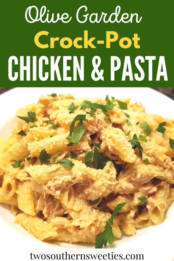Simple creamy, hearty & delicious dinner is done in the slow cooker. Olive Garden Dressing, Cream Cheese, Parmesan Cheese & Chicken & Pasta #olivegarden #bonelessskinlesschicken #pasta #crockpot #slowcooker
