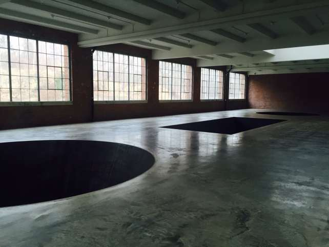 """Michael Heizer's """"North, East, South, West."""" The holes are 20 feet deep! - Beacon, NY Day Trip for World Class Contemporary Art - Two Traveling Texans"""