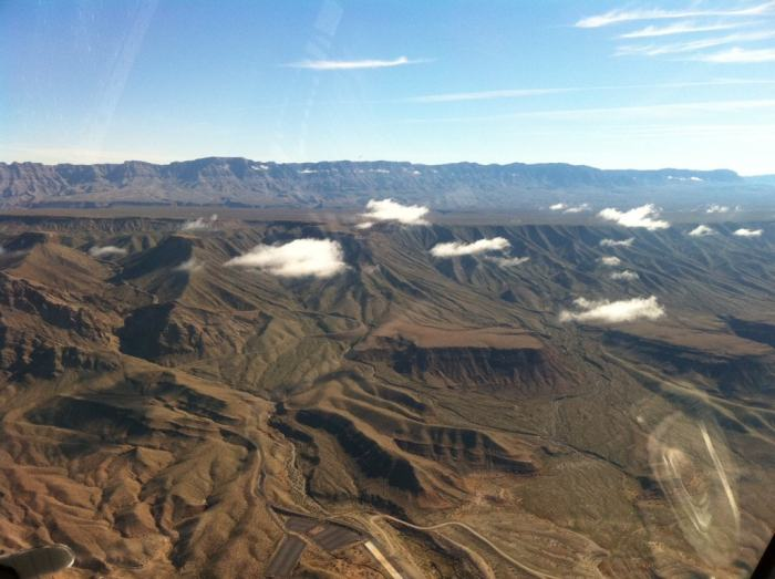 View flying toward the Grand Canyon