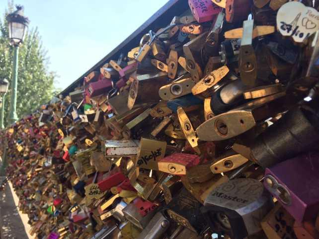 "Locks near Pont des Arts - ""12 Random Observations about Paris, France"" - Two Traveling Texans"
