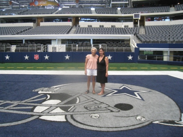 My mom and I in the Dallas Cowboys end zone