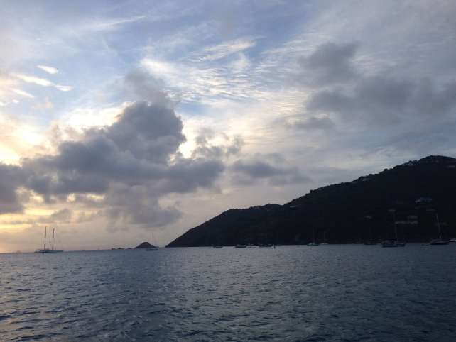 "Nice view of the sun setting on our ferry back to St. Martin - ""St. Barts for the Day"" - Two Traveling Texans"