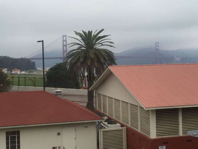 The view of the Golden Gate Bridge from the Walt Disney Family Museum.