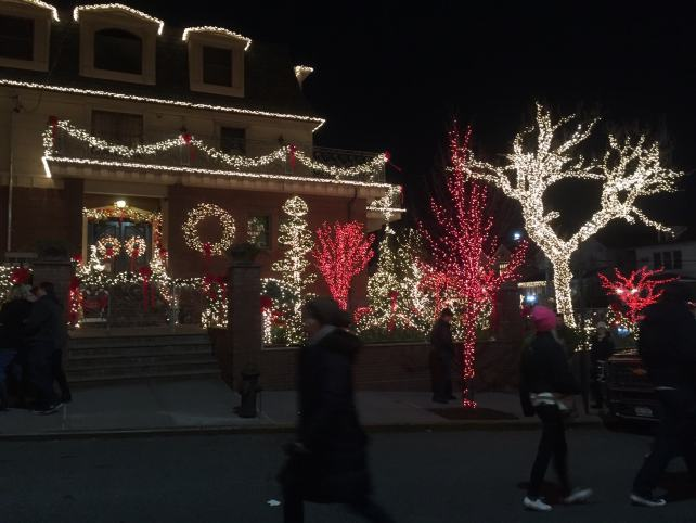 People could walk on the street on one block in Dyker Heights