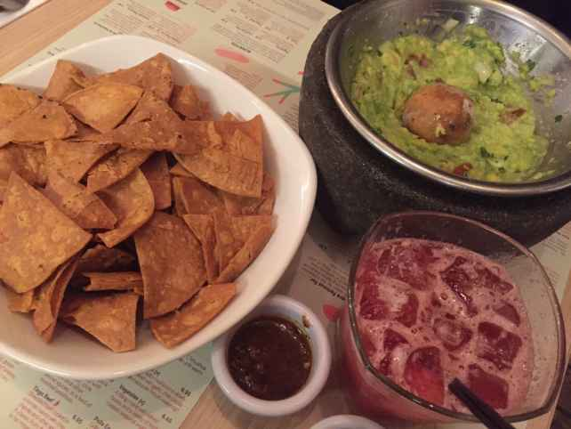 "The tableside guacamole, chips, and a strawberry margarita - ""Mexican Food Finds in London"" - Two Traveling Texans"