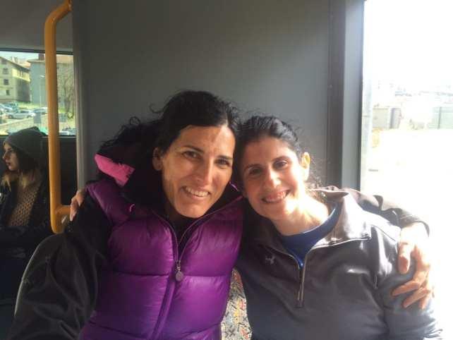 Anisa with Maria on the bus back to San Sebastian.
