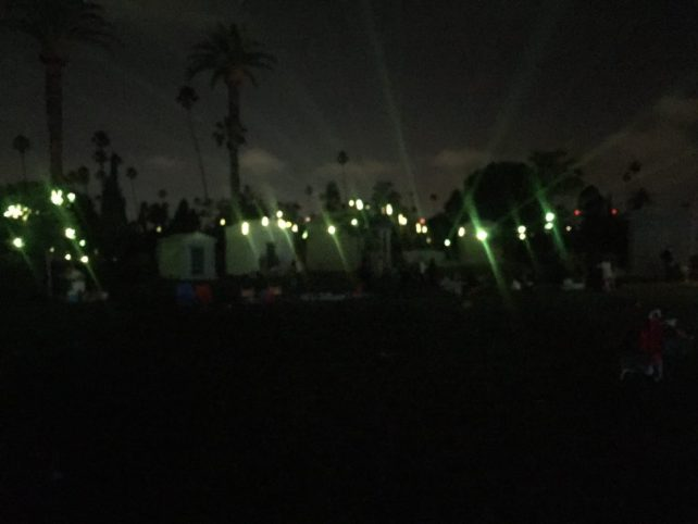 The light show during the Prince Dance Party at the Hollywood Forever Cemetery.