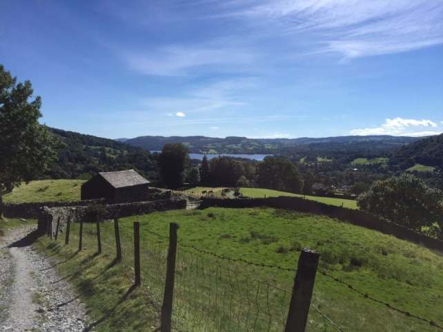 """The beginning of the High Sweden Bridge extension had spectacular views looking back towards Lake Windermere. - """"An Introduction to England's Lake District"""" - Two Traveling Texans"""