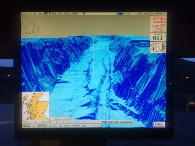 """One of the sonar screens that we learned about. You can see the dramatic changes in the depth of Loch Ness.- """"Loch Ness: Searching for Nessie"""" - Two Traveling Texans"""