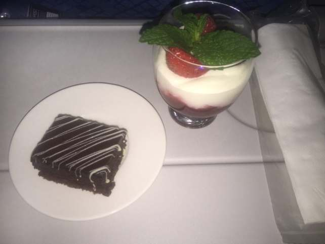 """Desserts from First Class. A brownie and fruit parfait. Yummy! - """"Random Acts of Kindness - Spark Hope Tag"""" - Two Traveling Texans"""