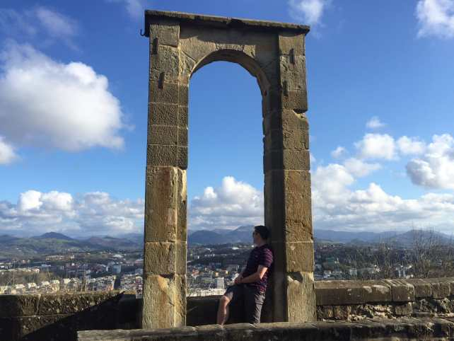 From the castle on top, Russell had a great view of the city and the mountains in the distance.