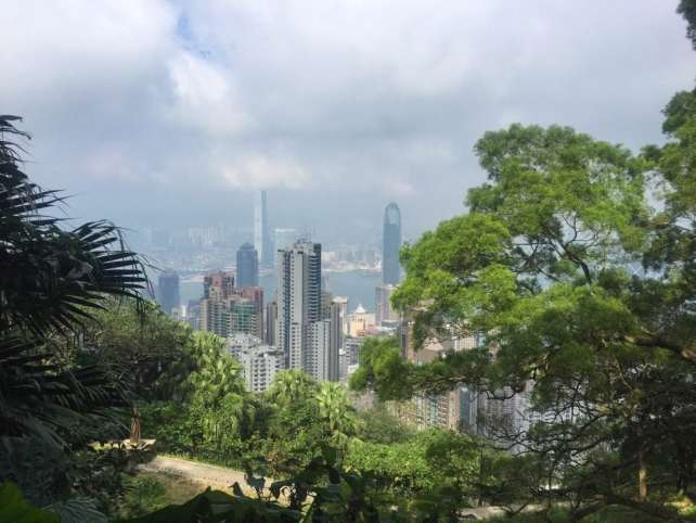 """The buildings peak out between the trees. - """"Don't Miss Victoria Peak When Visiting Hong Kong"""" - Two Traveling Texans"""