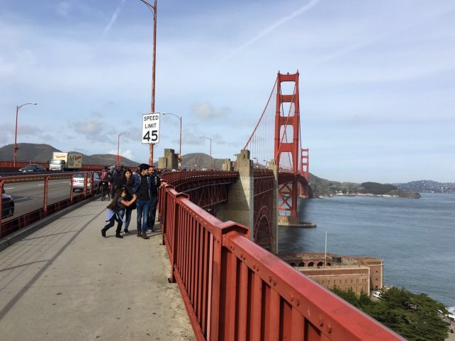 "Here you can see how there is a small section of the bridge walled off for bikes and pedestrians. - ""Biking Across the Golden Gate Bridge: Another off my Bucket List!"" - Two Traveling Texans"