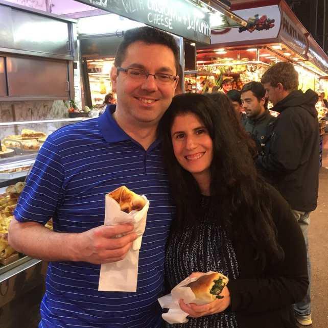 """Russell and Anisa at La Boqueria Market - """" La Boqueria Market: Come Hungry!"""" - Two Traveling Texans"""