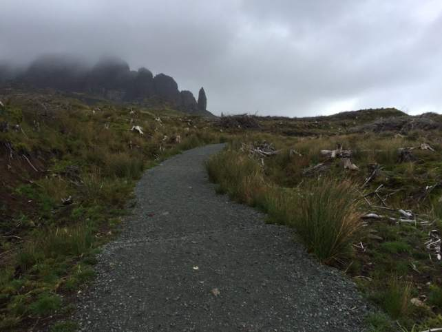 """You can see the clouds are moving in. - """"Old Man of Storr: Hiking in the Clouds"""" - Two Traveling Texans"""